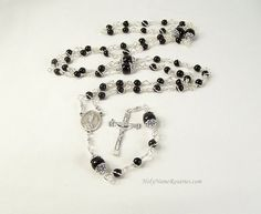 Our Lady of LaSalette Rosary Prayer Beads Onyx Wire Wrapped Unbreakable by HolyNameRosaries, $55.00