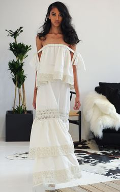 M'O Bridal & Wedding:  HOUGHTON Embroidered Linen Milia Skirt from our curated Honeymoon trunkshow  via Houghton