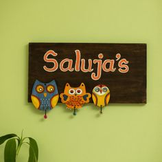 'Triple Owl Motifs' Customizable Wooden Name Plate (Handwritten Fonts) Wooden Name Plates, Wooden Names, Indian Inspired Decor, Name Plate Design, Name Plates For Home, Wood Craft Patterns, Wood Owls, Wall Decor Online, Art N Craft