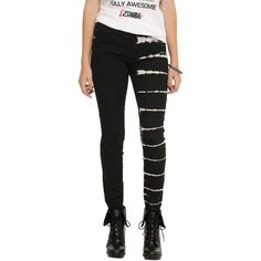 Royal Bones By Tripp Black Tie Dye Split Leg Skinny Jeans ($40) ❤ liked on Polyvore featuring jeans, distressed skinny jeans, striped skinny jeans, destroyed denim skinny jeans, torn jeans and ripped skinny jeans
