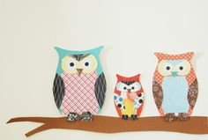 DIY Paper Owls - Paper owl family using printed paper stack and construction paper.