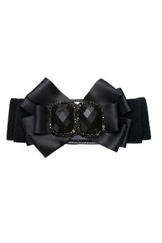 This waist belt crafted in satin and rhinestone, featuring bowknot with rhinestone embellished to front, press stud fastening, an elastic main.$25