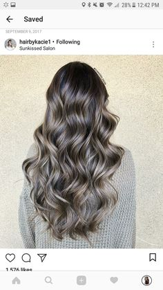 Love the subtle brown tones in this mostly grey color. Maybe a little more ombre, a little lighter towards the bottom. Brown Hair Balayage, Brown Blonde Hair, Hair Color Balayage, Brunette Hair, Hair Highlights, Haircolor, Hair Color And Cut, Fall Hair, Hair Dos