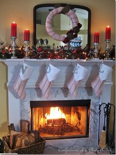 Mantel  Decorations : IDEAS &  INSPIRATIONS : French Ticking, Burlap and Mercury Glass...My Christmas Mantel