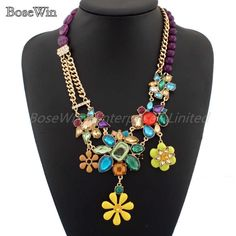Latest Star Style Jewelry Fashion Resin Bead Chain Multicolor Crystal Flower Pendant Charm Necklace For Women Dress CE1605