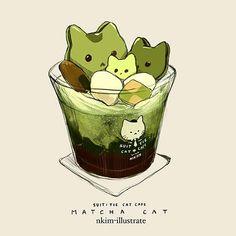 Trendy Ideas For Cats Drawing Cute Kawaii Cute Animal Drawings, Kawaii Drawings, Cute Drawings, Art Kawaii, Chibi Kawaii, Cute Food Art, Cute Art, Chibi Food, Cat Drinking