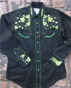 Men s Black Vintage Hops Embroidered Western Shirt 8e5433b1da28