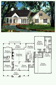 Cape Cod, Colonial, European House Plan 40013 with 3 Beds, 3 Baths, 2 Car Garage House Plan 40013 New House Plans, Dream House Plans, Small House Plans, House Floor Plans, My Dream Home, 3 Bedroom Home Floor Plans, Building Plans, Building A House, Br House