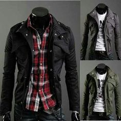 Checked shirt and jacket. Colour contrast, dark jacket and red and another colour shirt. Well with light coloured chinos.