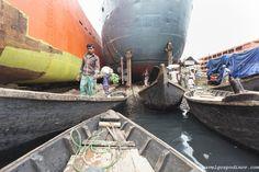 Local canoes and boats berthing alongside a quay at Dhaka Shipyard, Dhaka, Bangladesh, Indian Sub-Continent, Asia.