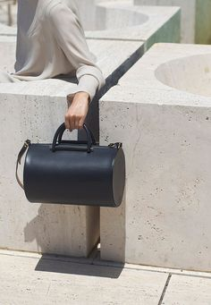leather barrel bag by Building Block Leather Handbags, Leather Bag, Black Leather, Minimalist Bag, Minimalist Fashion, Building Block Bag, My Bags, Purses And Bags, Fashion Bags