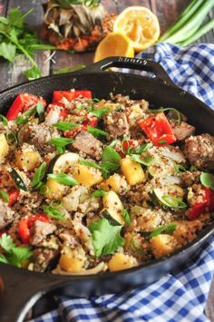 This Pineapple Tuna Quinoa Skillet offers amazing flavor, delightful colors, and high health points all in one skillet! Cooked Pineapple, Latest Recipe, One Pot Meals, Seafood Recipes, Seafood Dishes, Quinoa, Main Dishes, Side Dishes, A Food