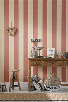 Buy Textured Red Stripe Wallpaper from the Next UK online shop Nautical Wallpaper, Red Wallpaper, Striped Wallpaper, Wallpaper Ideas, Home Interior Design, Interior And Exterior, Room Colors, Colours, New Room