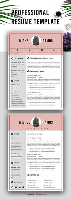 Resume Template - CV Template with Cover Letter - MS Word on Mac - word resume template mac