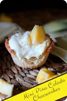 A lightly sweetened coconut cup holds a deliciously tropical pineapple cheesecake. These Mini Piña Colada Cheesecakes will feel like a vacation! Pineapple Cheesecake, Easy No Bake Cheesecake, Best Cheesecake, Cheesecake Bites, Cheesecake Recipes, Dessert Recipes, Desserts, Pina Colada Protein Shake Recipe, Protein Shake Recipes