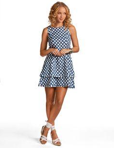 Navy Dot Mermaid Linen Dress - Navy Polka Dot Dress | Island Company