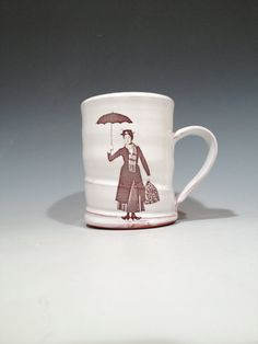 Handmade Mary Poppins Mug with white glaze by rothshank on Etsy, $39.00