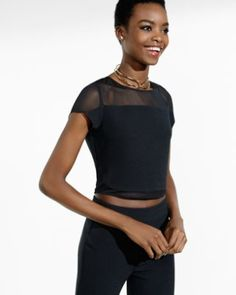 black mesh inset cropped tee from EXPRESS