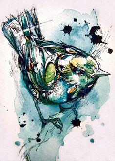 Pájaro en acuarela y tinta, de Abby Diamond …