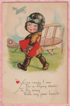 CUTE LITTLE AIRPLANE PILOT BOY TOTES RED VALENTINE HEART Charles Twelvetrees PC