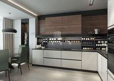 54 Super Ideas For Apartment Kitchen Island Dining Rooms Modern Kitchen Design, Interior Design Living Room, Kitchen Furniture, Kitchen Decor, Kitchen Colour Combination, White Wood Kitchens, Kitchen Pantry Cabinets, Kitchen Island, Apartment Kitchen