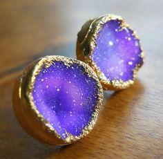 Purple druzy stud earrings, 18k gold dipped. $98.00, via Etsy. - like a little galaxy on your ears :)