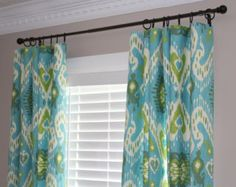 Custom Curtain Panel Set - Waverly Enlightened Ikat Jade