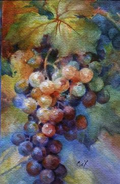 watercolor grapes on pinterest   watercolor grapes   ARTchat - Porcelain Art Plus (formerly Chatty ...