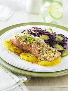 Baked and not fried, panko (Japanese breadcrumbs) gives this salmon a delicious crispy coating. #seafood #seafoodrecipe #salmon