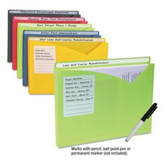 C-Line Write-On Poly File Jackets, Letter Size, Assorted Colors, Pk Of 10 : Target Organizing Paperwork, Home Office Organization, Organization Hacks, File Cabinet Organization, Organizing Life, Medicine Organization, Organizing Ideas For Office, Office Decor, School Paper Organization