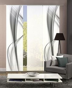 Set of 3 panel curtains deco opaque BOURTON Dessin / uni Fb. Gray / white … by Home Curtains, Curtains With Blinds, Panel Curtains, Window Design, Door Design, Modern Apartment Decor, Shades Blinds, Curtain Designs, Interior And Exterior