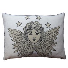 The Angel in the world of tattoos is worn on the body as a symbol of divine protection and so this cushion is special too. Adorned with the beautiful Guardian Angel, it is appliquéd and hand-embroidered with fine chain-stitch to highlight the detail of the cherubic face and wings.  The Guardian Angel cushion is a Heavenly work of art, created to watch over you. Jan Constantine  - Guardian Angel Cushion JR696, £94.00 (http://www.janconstantine.com/guardian-angel-cushion-jr696/)