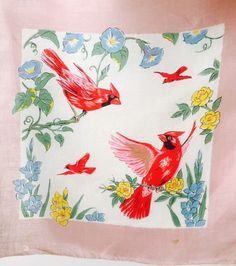 Vintage Handkerchief Spring Pair of Red Cardinal Birds & Flowers Morning Glory 50's Semi Sheer Kerchief Scarf Dusty Rose Trim Shabby Chic by OffbeatAvenue on Etsy