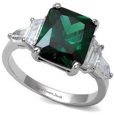 5CT Emerald Cut Green Emerald Engagement Ring