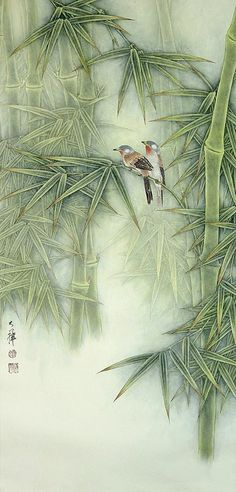 Lou Dahua Chinese Artist.  Birds and Bamboo