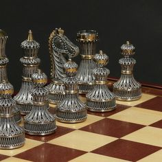 Limited edition sterling silver and gold chess set made in Russia.
