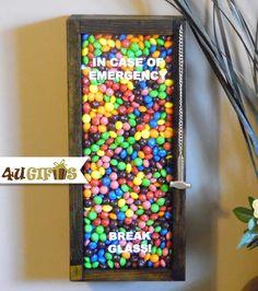 In Case of Emergency Break Glass, Candy Lover's Gift, M&M's, Skittles, Gum Balls, Funny Gift, Office Gift, Co-worker Gift, Kids Gift