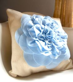 Something Old Something New Something Borrowed Something Blue Eco friendly felt cream with sky blue peony cupcake fluff flower pillow cover. $35.00, via Etsy.