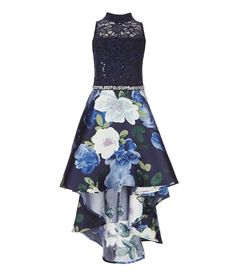 ef0842a2b8 Xtraordinary Big Girls 7-16 Lace Floral High-Low Hem Dress Middle School