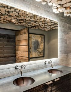 Mountain guest cabin, Big Sky, MT. Highline Partners. - ceiling treatment