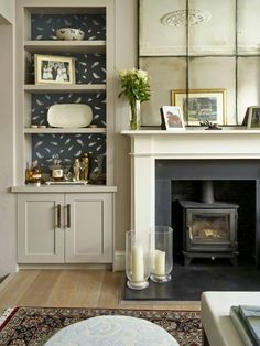 Lily Paulson-Ellis Designs - House & Garden, The List, House interior, New Living Room, My New Room, Home And Living, Living Room Decor, Alcove Ideas Living Room, Living Room Ideas Terraced House, Log Burner Living Room, Alcove Shelving, Wall Shelves
