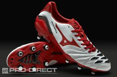 Mizuno Football Boots - Mizuno Wave Ignitus 2 SG - Soft Ground - Soccer Cleats - Pearl-Red-Black