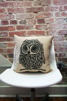 Screen Printed Camo Owl Pillow Cover 16x16 by miasunique on Etsy, $28.00