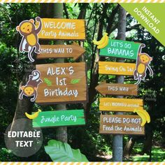 Let's go bananas! Monkey Jungle Party Welcome Sign with EDITABLE Text, Digital Printable by ThePartyBuddy Safari Theme Birthday, Safari Party, Boy Birthday Parties, Birthday Party Decorations, Monkey Party Decorations, Banana Party, Deco Jungle, Jungle Safari, Welcome To The Party