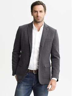 Heritage black knit two-button blazer | Banana Republic
