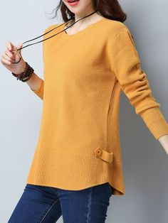Shop Sweaters - Crew Neck Knitted Casual Solid Long Sleeve Sweater online. Discover unique designers fashion at StyleWe.com.