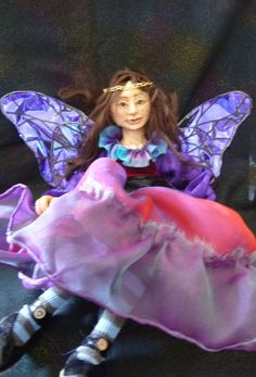 Fairy Warning by fairyrealm on Etsy (Art & Collectibles, Dolls & Miniatures, Art Dolls, Fantasy figure, Fairy, Faerie, Fairy sign, OOAK sculpt, Polymer clay sculpt, Elf, Sprite, Magical being, Oak sign)
