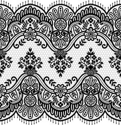 Seamless black lace borders vectors 03
