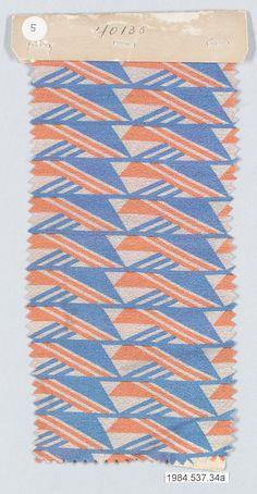 Textile sample | Josef Hoffmann (Austrian, Pirnitz 1870–1956 Vienna) | Manufacturer: Wiener Werkstätte | Date: ca. 1920