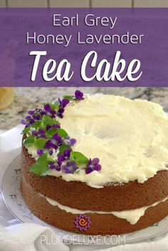 Earl Grey Honey Lavender Tea Cake Recipe This gorgeous tea cake is sweetened with honey, flavored with Earl Grey tea, and slathered in luscious lavender buttercream. Tea Recipes, Sweet Recipes, Baking Recipes, Summer Cake Recipes, Recipies, Lemon Dessert Recipes, Tea Cakes, Cupcake Cakes, Earl Grey Tee